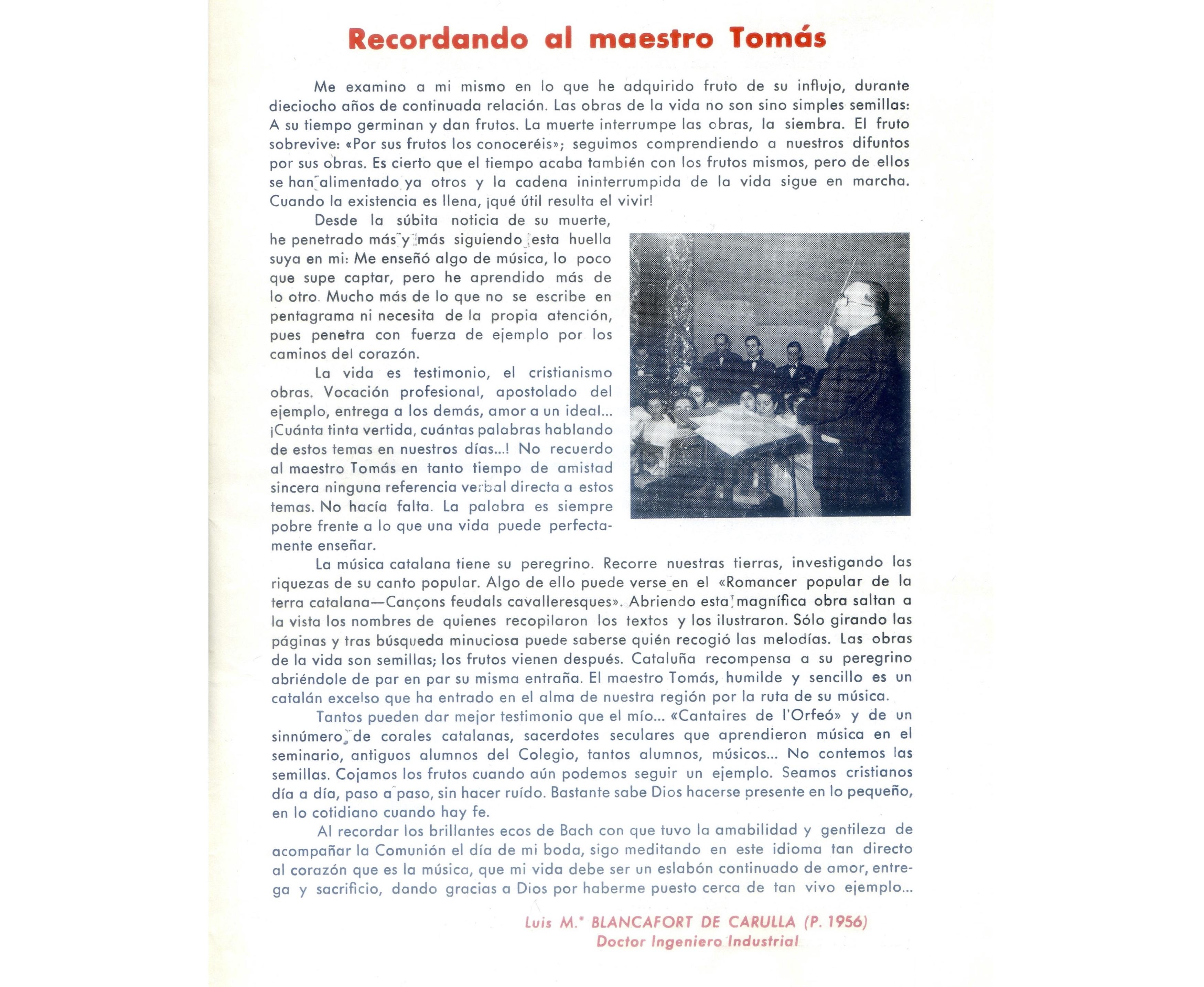 Blancafort de Carulla, Ll. M. Recordando al maestro Tomás. Estol, circular del col·legio de San Ignacio, n.156. 1968. Barcelona. Fons JTP
