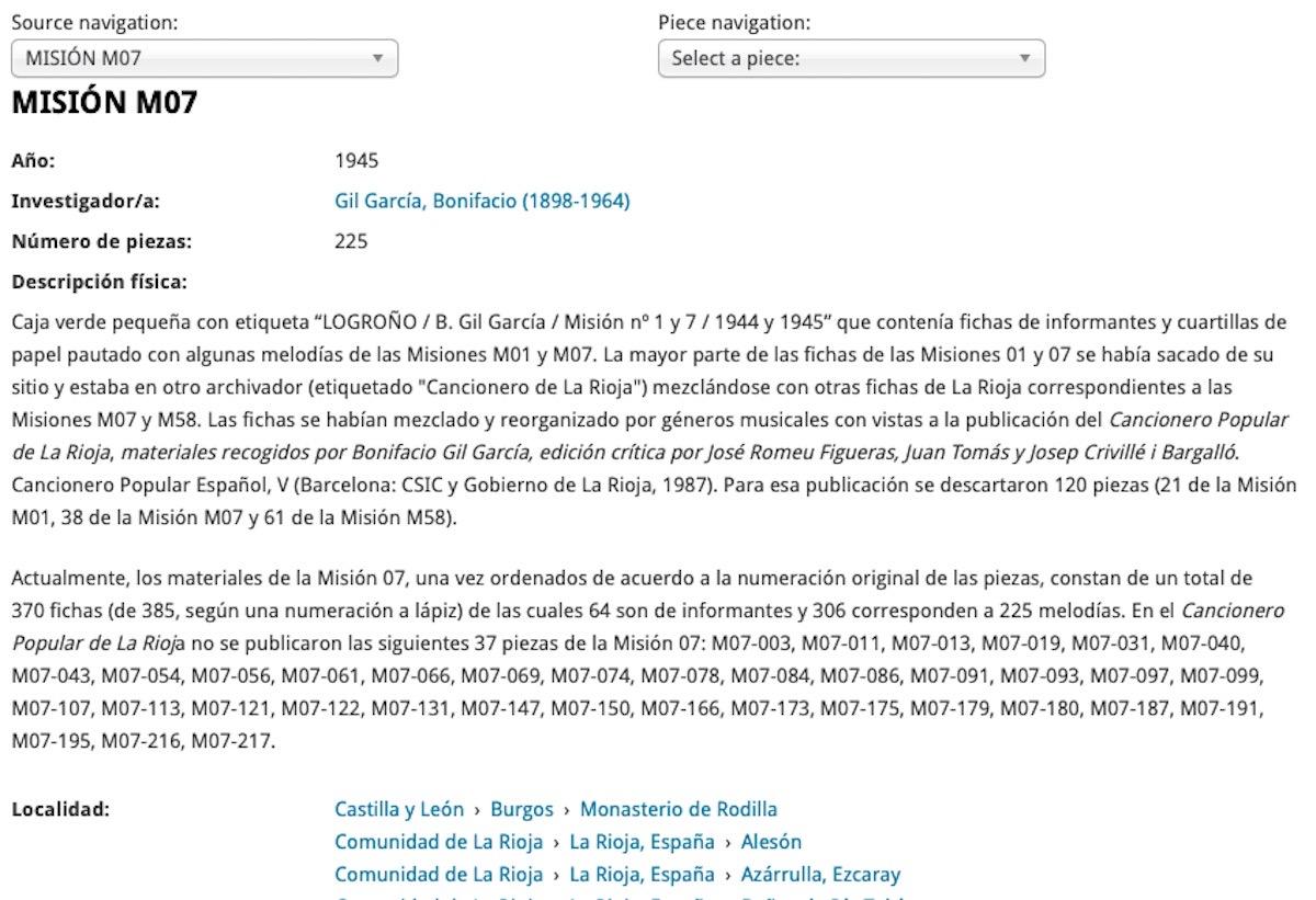 Descripció en la que es veu la participació de Joan Tomàs en l'edició del Cancionero Popular de la Rioja. CSIC